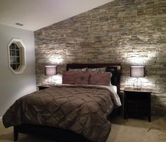 amusing brick accent wall bedroom | Rock accent wall in the master bedroom | Home decor in ...