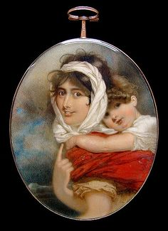 George Chinnery RHA (British, An important portrait miniature, probably of Anne Thackeray (née Becher) and her son William Makepeace Thackeray the former, wearing saffron dress with short bouffant sleeves and cord belt, Gouache, William Makepeace Thackeray, Miniature Portraits, Miniature Paintings, The Virginian, Man And Wife, Magic Carpet, Ivoire, Mother And Child