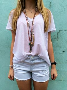 JBRAND cut offs and tee and draped with some fab Artemis relics, Angel Court and Love Heals!!