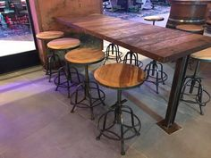 Installation done for Brew Monkey,Time Square. They were after a raw wood and steel look for the restaurant. Raw Wood, Monkey, Restaurant, Bar, Canning, Steel, Table, Furniture, Home Decor