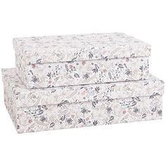 2 boîtes motifs fleurs en carton