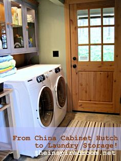 DYI. Repurpose an old china cabinet. Cut off the top and use it as upper cabinets in the laundry.