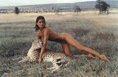 Janice Dickinson by Peter Beard showing the leopard how to pose