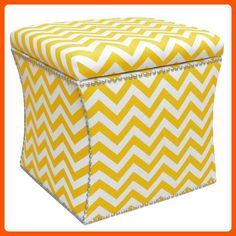 Skyline Furniture Nail Button Storage Ottoman, Zig Zag Yellow Slub - Improve your home (*Amazon Partner-Link)