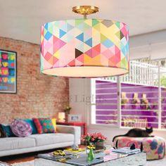 Pop Art Drum Shaped 3-Light Kids Room Ceiling Light