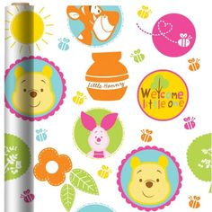 Pooh Baby Days Baby Shower Gift Wrap - Party City
