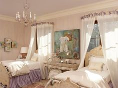 This classic and timeless bedroom was made for little girls but decorated with mature, adult style. Antique furnishings and a cream and lavender color scheme keep the space smooth and neutral but with plenty of femininity for growing girls. The simple bed crowns envelop the headboards in soft, sheer fabric for an innocent and girly touch. Design by Margaret Norcott