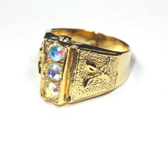 Vintage Chunky Gold Ring Aurora Borealis by SellitAgainVintage, $19.50