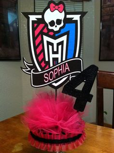 """Personalized Monster High Centerpiece Doll on 1/2"""" Thick Foam with Base and Age Number"""