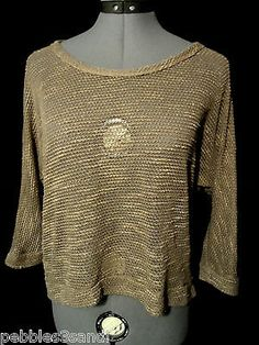RUE 21 Crochet Sweater Top womens M Brown Lace back Boho Indie dolman sleeve HOT