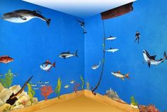 Fish decoration ideas ocean room fishing theme boys bedroom under the sea decor kids decorating themed Sea Theme Rooms, Bedroom Themes, Bedroom Ideas, Themed Rooms, Jouer Au Poker, Sea Bedrooms, Shark Room, Condo Bedroom, Bedroom Boys