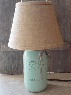 Mason Jar Lamp Mint Green Lamp Small Table Lamp by Rustic4you