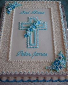 First Communion/baptism Cake Cake frosted and decorated in buttercream with royal icing flowers. Baby Boy Baptism, Boy Christening, Boy Baptism Cakes, Baptism Sheet Cake, Comunion Cakes, Boy Communion Cake, Cross Cakes, Religious Cakes, Royal Icing Flowers