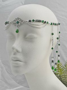 Emerald Green Medieval Circlet - lord of the rings crown, elven circlet