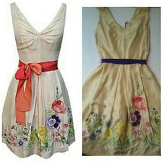 HP! 6/3 ANTHROPOLOGIE PARTY DRESS SZ S FIRM PRICE FINAL DROP!!  YOANA BARASCHI SOLD AT ANTHROPOLOGIE  NATURAL SPIRIT FLORAL EMBROIDERED PARTY  DRESS MILKY / MULTI COLOR  SIZE 0 BUST 28 WAIST 23 LENGTH 32 SEE YOANA SIZE CHART POSTED Anthropologie Dresses Midi