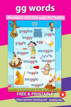 Double gg words- This phonics lesson for kids is the perfect addition to your phonics instruction. The cute graphics & playful colors ensure your students will love them. Phonics Blends, Phonics Rules, Phonics Lessons, Phonics Words, Teaching Phonics, Phonics Activities, Teaching Kindergarten, Teaching Kids, English Worksheets For Kids