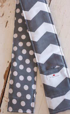 DSLR Camera Strap Cover- lens cap pocket and padding included- Grey Chevron and Polka Dots