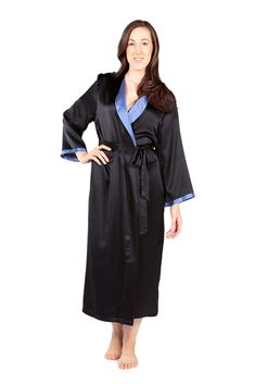 Women's Luxury Long Silk Bathrobe - Bliss (Black, Small/Medium Petite) Lightweight Robes for Her WS0102-BLK-SMP. This TexereSilk product is exclusively fulfilled by Amazon. Buy ONLY when indicated as being shipped by Amazon. Long robe features side pockets, attached belt, inside modesty tie, and modified shawl collar in contrasting color. This garment does not carry hand painted art. Hand Wash Recommended (Machine Washable, Dry Cleanable). Imported.