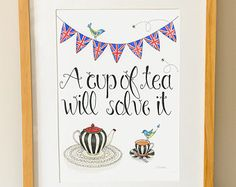 A Cup of Tea Will Solve It - Tea Quote - Tea Art - Watercolour Illustration - Union Jack Bunting