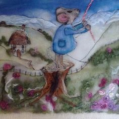Fantasy Mouse Wall Hanging Needle Felted by REDceramicsandWeaves