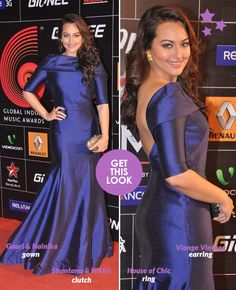 Sonakshi Sinha at the Global Indian Music Awards 2014 wearing a Gauri & Nainika gown deep blue silk gown. Trendy Dresses, Long Dresses, Fashion Dresses, Indian Music, Silk Gown, Sonakshi Sinha, Prom Gowns, Designer Gowns, Music Awards