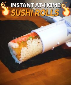 The Sushi Bazooka is the easiest way to make at-home sushi in seconds! It's simple, just fill with rice, add your favorite ingredients, clamp the bazooka shut, & push the out. Cooking Gadgets, Cooking Tools, Cooking Recipes, Cooking Hacks, Sushi Recipes, Asian Recipes, Healthy Recipes, Eat Healthy, Sushi Maker