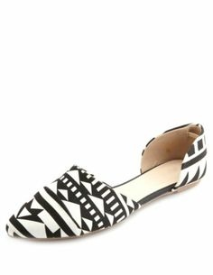 Aztec Print Pointed Toe D'Orsay Flats: Charlotte Russe  << These are freaking awesome!!!