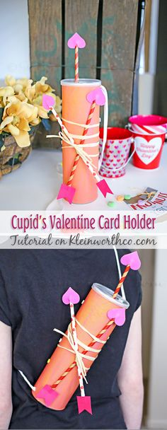 Cupid's Valentine Card Holder from Kleinworthco.com // Valentine's Day DIY Mailbox