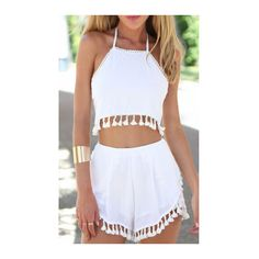 Two Pieces White Halter Neck Loose Shorts (€18) ❤ liked on Polyvore featuring outfits, romper, shorts, tops, crop tops, white and white two piece