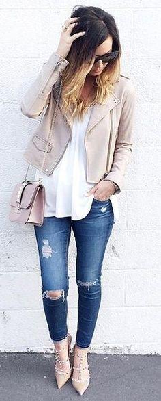 #spring #summer #outfitideas   Blush + Denim + White  For All Things Lovely