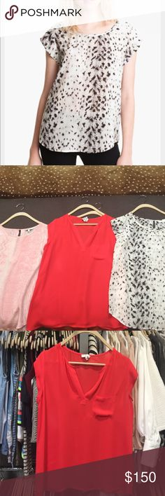 Set of 3 Joie Rancher blouses size small These classic rancher silk tops are so comfy and chic! Set includes a red v neck, white leopard and pink snake. All have been dry cleaned and taken care of. No holes or tears. Fits up to a size 4! Joie Tops Blouses