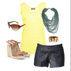 Summer shorts outfit - I'd wear bermuda or city length shorts though.