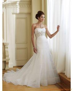 2013 Neue schulterfreie Brautkleider für Prinzessin aus Organza mit Perlen und Stickerei verziertes Korsett und mit Schleppe