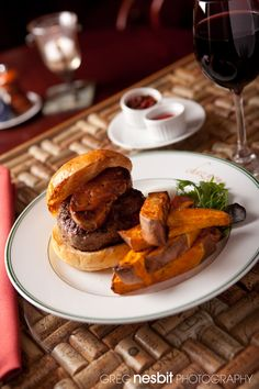 """Burger """"à la Française"""" - Northeast Family Farms Pasture-Raised Beef topped with pan-seared Foie Gras, Home-made Sweet Potato Fries, Tomato Chutney"""