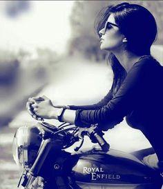 Royal enfield world Girl Riding Motorcycle, Biker Girl, Bike Photography, Fashion Photography Poses, Stylish Girls Photos, Stylish Girl Pic, Harley Davidson, Girl Photo Poses, Girl Poses