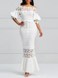 Clocolor Elegant Long Dress Women White Lace Slash Neck Mermaid Dresses Sexy Hollow Lace-Up Bodycon Party Maxi Dresses Vestidos Elegant Dresses, Sexy Dresses, Dress Outfits, Fashion Dresses, Cheap Dresses, Party Dresses, Prom Gowns, Dresses Dresses, Floral Dresses