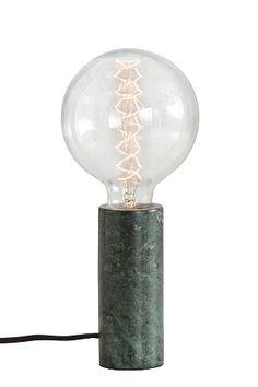 Moderni ja tyylik�s p�yt�valaisin, jossa marmorista sorvattu lieri�nmuotoinen jalka. Korkeus 14 cm, � 6 cm. Valkoinen, kangasp��llysteinen johto. Iso kanta E27. Enint��n 60 W. Lampun valinnalla voit vaikuttaa valaistuksen tyyliin ja tunnelmaan � kokeile ja l�yd� omasi! Lamppu ei mukana.<br>Marmori on luonnonmateriaali, joten valaisinten ulkon�k� voi hieman vaihdella. <br><br>