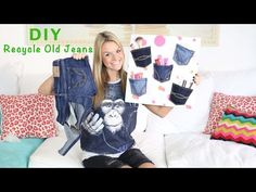 DIY: Recycle Old Jeans To Make A Denim Pocket Wall Organizer - YouTube