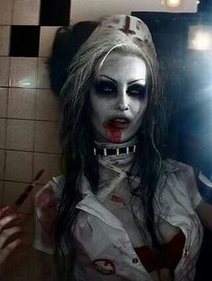 Really creepy looking zombie nurse. This SFX makeup idea pairs great with some zombified FX contacts -> http://www.pinterest.com/pin/350717889705763104/