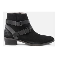Hudson London Women's Meeya Suede Buckle Heeled Ankle Boots - Black (£63) ❤ liked on Polyvore featuring shoes, boots, ankle booties, black, black suede bootie, black buckle booties, low ankle boots, black ankle bootie and black booties
