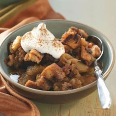 Apple Betty with Almond Cream Recipe -I love making this treat for friends during the peak of apple season. I plan a quick soup and bread meal, so we can get right to the dessert!—Libby Walp, Chicago, Illinois