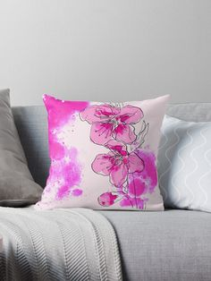 Pink cherry blossoms branch in watercolor style. Japanese sakura with lettering. Cherry Blossoms, Designer Throw Pillows, Pillow Design, Finding Yourself, Stationery, Japanese, Illustrations, Graphic Design, Artists