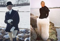 At left, Taylor wears a riding jacket and vest by H. Huntsman and Sons; breeches by Harry Hall; hat by John Cavanagh; collar by Wentworth; shirt by Bernard Weatherill; gloves by Fownes; boots by Henry Maxwell, 1967. At right, Taylor had Mabel Furs custom design many items in her wardrobe from Mongolian sheep pelts. Photograph by Toni Frissell.