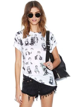 This awesome tee is an homage to our favorite brooding actor--it features doodling graphics all over (yep, our girl crush Kate Moss is on there too!) and ribbing at neckline.