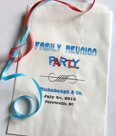 Personalized Paper Favor Goo Bags Family Reunion