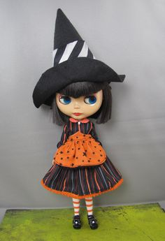 Blythe Witch Outfit, Stripes  Hat and Apron