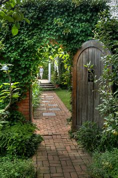 Spindletree Walled Garden by Marilyn Cornwell Brick Path, All About Plants, Garden Gates, Pathways, Walled Garden, Outdoor Gardens, Cottage, Outdoor Structures, Doors