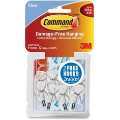 Command Clear Hooks and Strips, Plastic/Wire, Small, 9 Hooks with 12 Adhesive Strips per Pack Command Hooks, Command Strips, Hanging Hats, Dropped Ceiling, How To Remove, How To Apply, Decorative Hooks, Home Defense