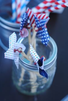 Fourth of July Decor pinwheels - where do you get these pins for the wheels? Fourth Of July Decor, 4th Of July Party, July 4th, Happy Birthday America, Let Freedom Ring, Summer Kids, Holidays And Events, Independence Day, Holiday Fun
