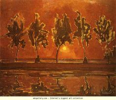 Piet Mondrian.  Trees by the Gein at Moonrise.  / Bomen aan het Gein bij opkomende maan.  1907-08. Oil on canvas.  79 x 92.5 cm. Gemeentemuseum, the Hague, Netherlands.
